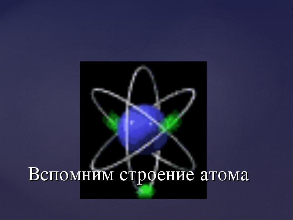 Вспомним строение атома