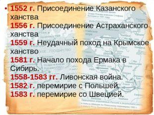 1552г. Присоединение Казанского ханства 1556г. Присоединение Астр