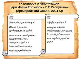 Призыв к канонизации  Призыв к канонизации  Ивана Грозного представляет соб
