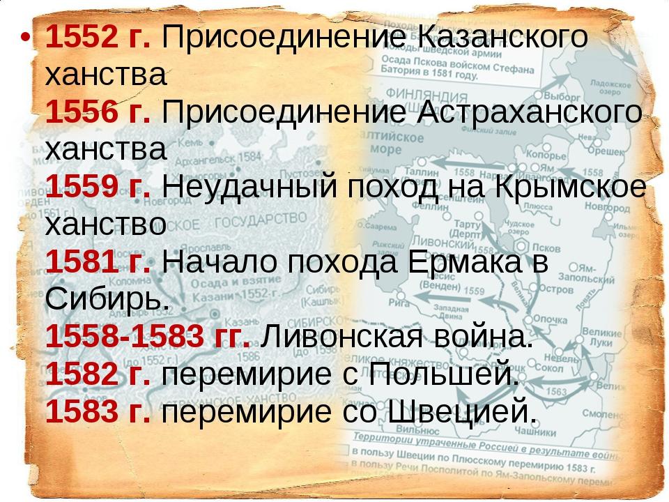 1552г. Присоединение Казанского ханства 1556г. Присоединение Астр...