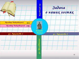 * Задача о наших гостях Площадь Ленина ул. Лукьянова 1 ул. Лукьянова 2 Бульва