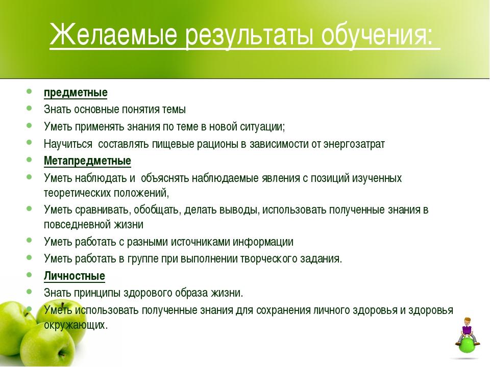 Желаемые результаты обучения: предметные Знать основные понятия темы Уметь пр...