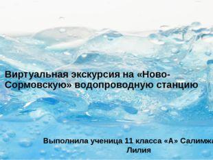 Виртуальная экскурсия на «Ново-Сормовскую» водопроводную станцию Выполнила уч
