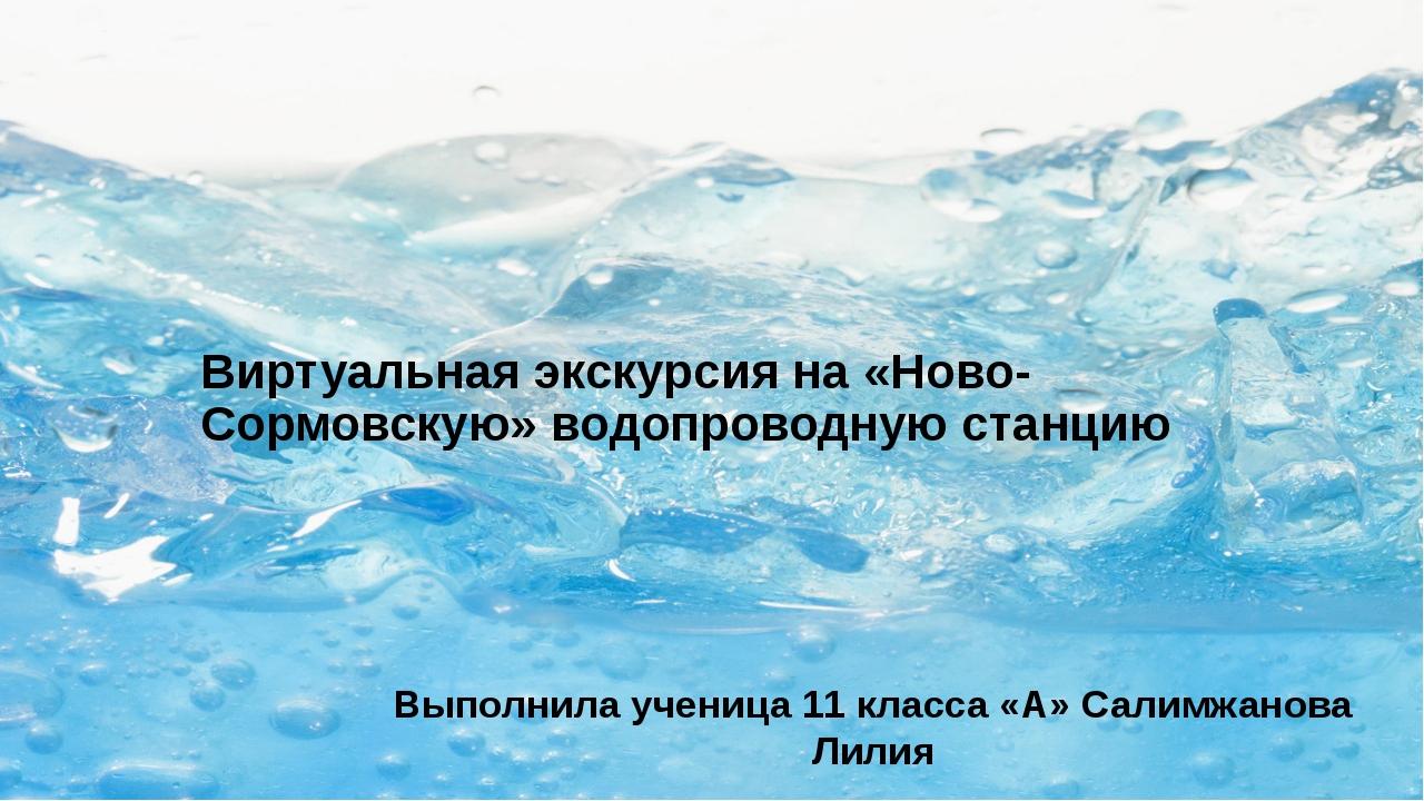 Виртуальная экскурсия на «Ново-Сормовскую» водопроводную станцию Выполнила уч...