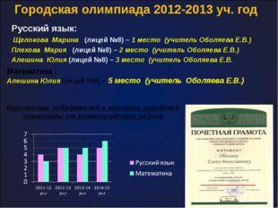 Городская олимпиада 2012-2013 уч. год Русский язык: Щелокова Марина (лицей №8