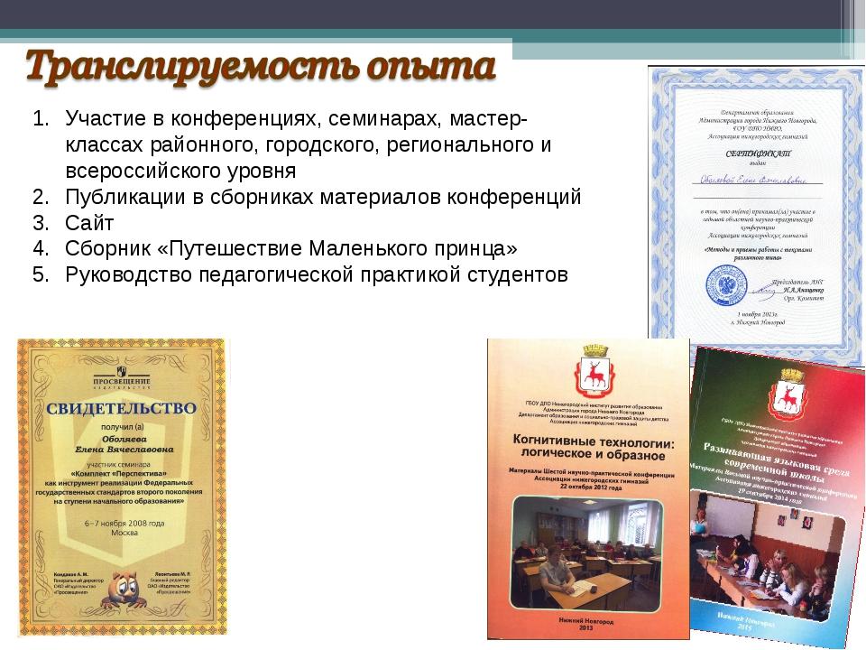 Участие в конференциях, семинарах, мастер-классах районного, городского, реги...