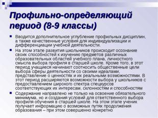 Профильно-определяющий период (8-9 классы) Вводится дополнительное углубление