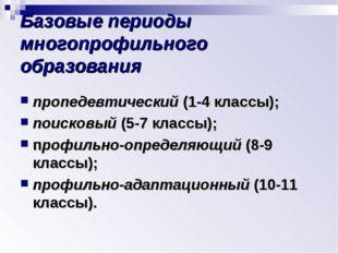 Базовые периоды многопрофильного образования пропедевтический (1-4 классы); п
