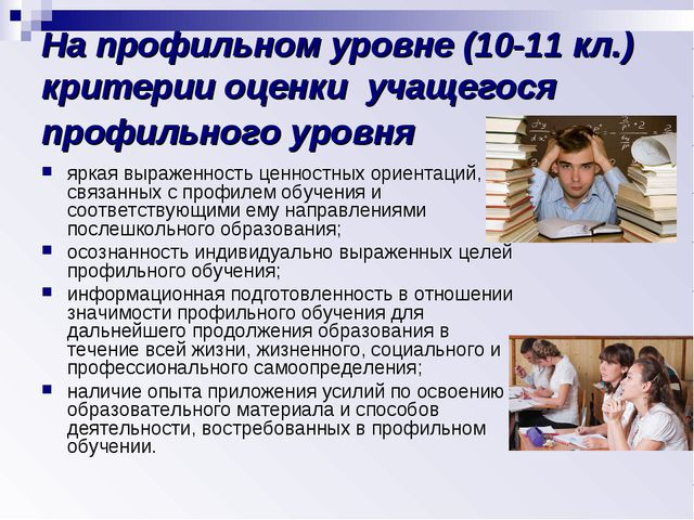 На профильном уровне (10-11 кл.) критерии оценки учащегося профильного уровня...