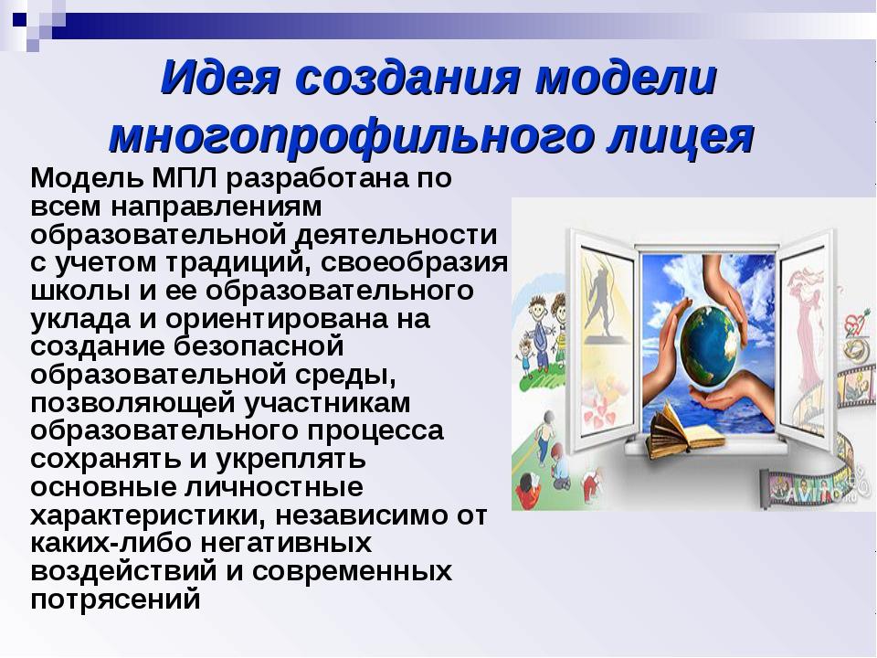 Идея создания модели многопрофильного лицея Модель МПЛ разработана по всем на...