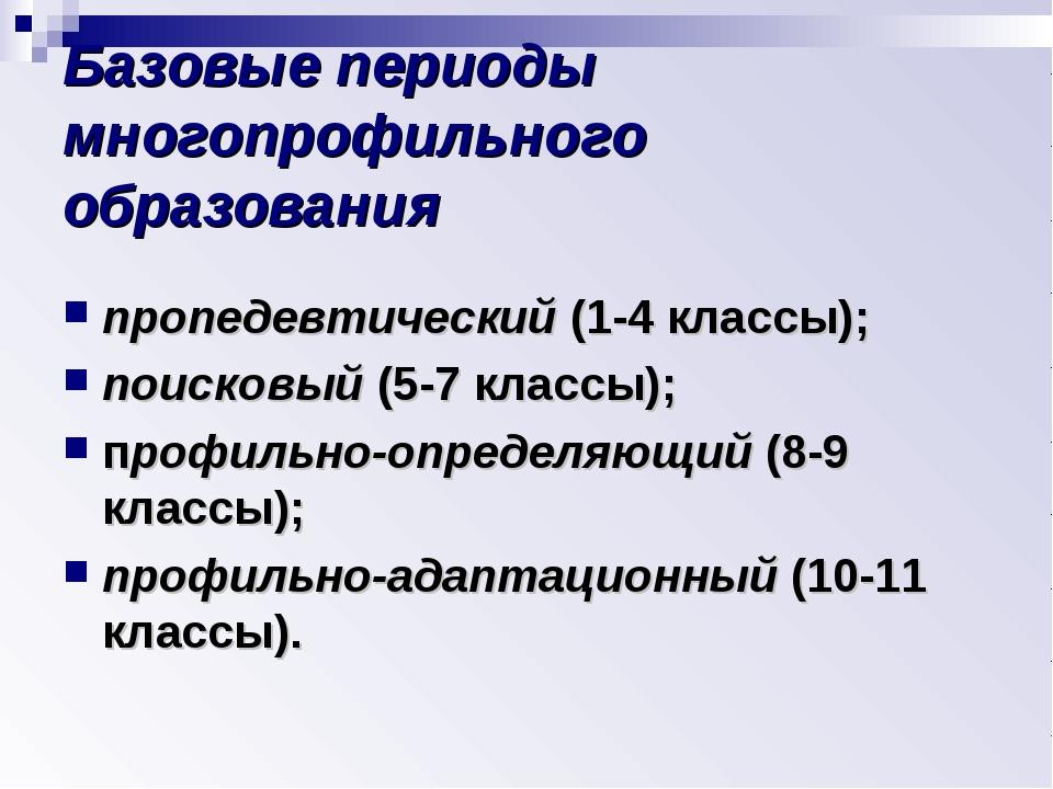 Базовые периоды многопрофильного образования пропедевтический (1-4 классы); п...