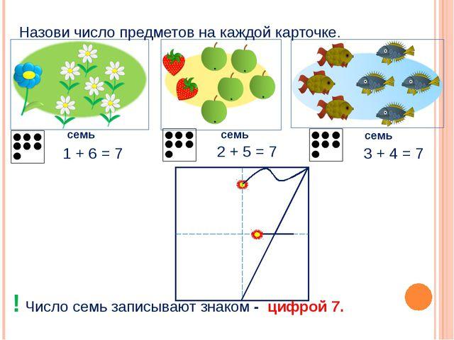 Назови число предметов на каждой карточке. семь семь семь 2 + 5 = 7 1 + 6 =...