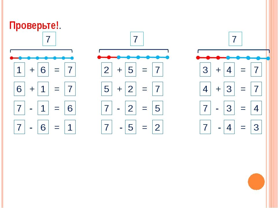 1 + 6 = 7 7 7 7 Проверьте!. 2 + 5 = 7 5 + 2 = 7 6 + 1 = 7 7 - 2 = 5 7 - 5 = 2...
