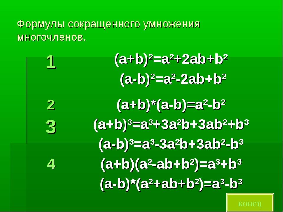 Формулы сокращенного умножения многочленов. конец