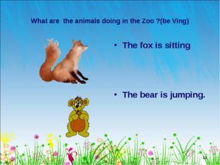 * What are the animals doing in the Zoo ?(be Ving) The fox is sitting The bea