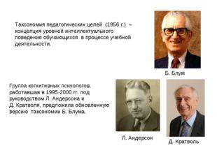 Таксономия педагогических целей (1956 г.) – концепция уровней интеллектуально