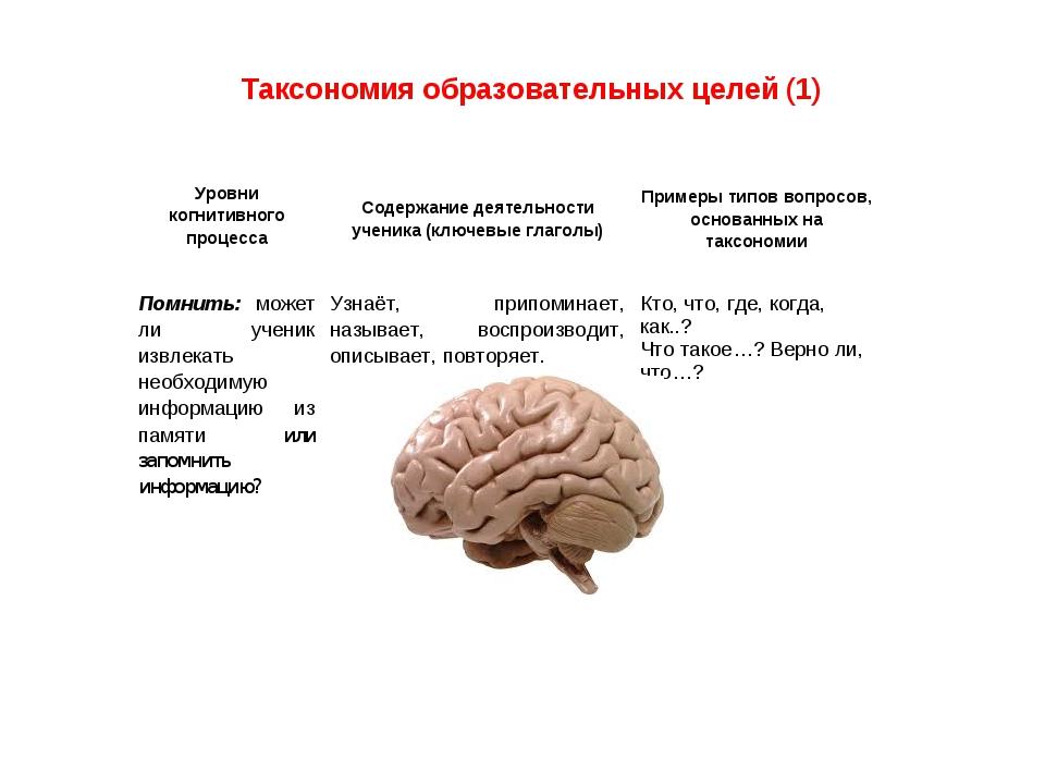 Таксономия образовательных целей (1) Уровни когнитивного процессаСодержание...