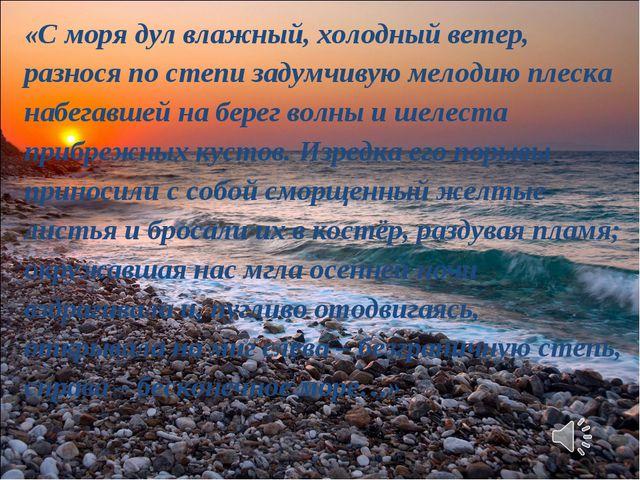 «С моря дул влажный, холодный ветер, разнося по степи задумчивую мелодию плес...