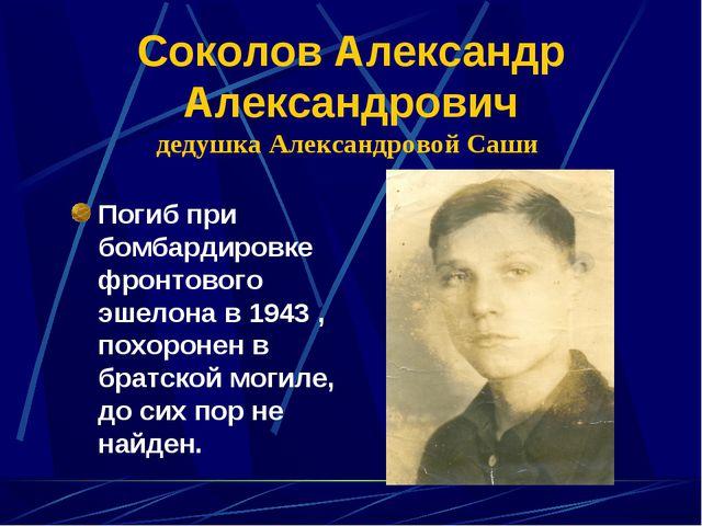 Соколов Александр Александрович дедушка Александровой Саши Погиб при бомбарди...