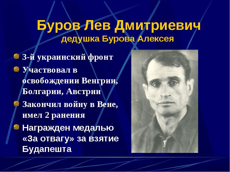 Буров Лев Дмитриевич дедушка Бурова Алексея 3-й украинский фронт Участвовал в...