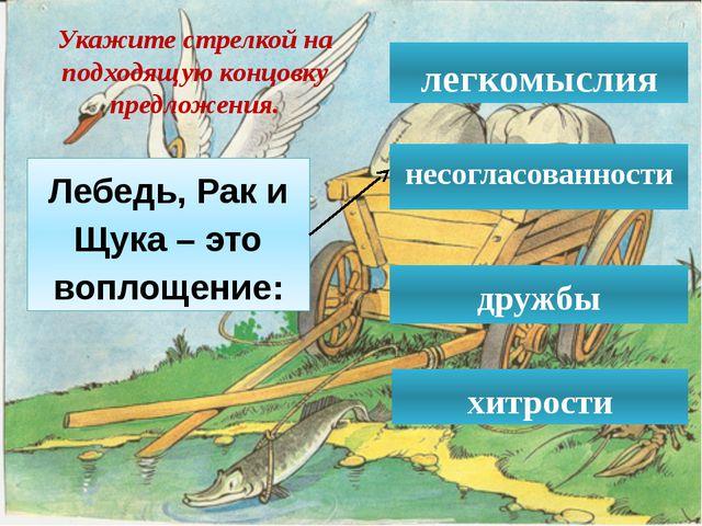 Лебедь, Рак и Щука – это воплощение: легкомыслия несогласованности  дружбы...