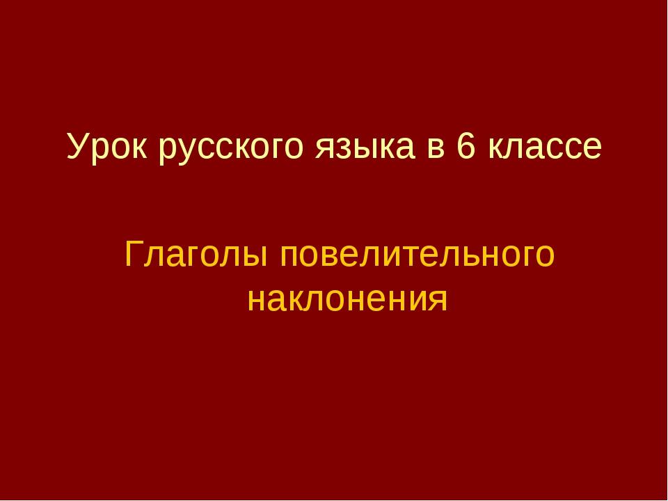 Урок русского языка в 6 классе Глаголы повелительного наклонения