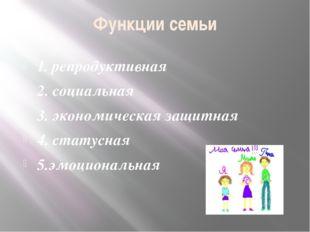 Функции семьи 1. репродуктивная 2. социальная 3. экономическая защитная 4. ст