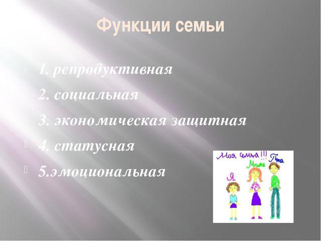 Функции семьи 1. репродуктивная 2. социальная 3. экономическая защитная 4. ст...