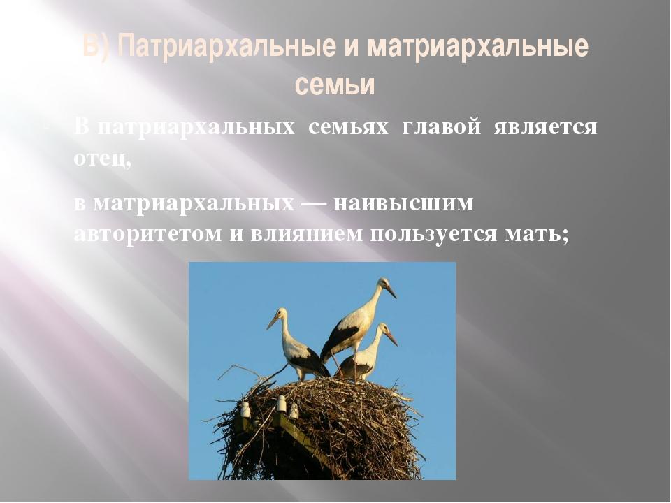 В) Патриархальные и матриархальные семьи В патриархальных семьях главой являе...