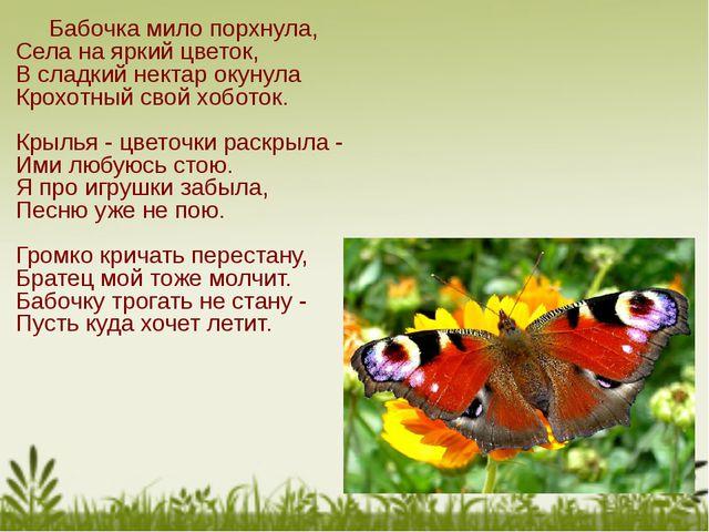 Бабочка мило порхнула, Села на яркий цветок, В сладкий нектар окунула Крохот...