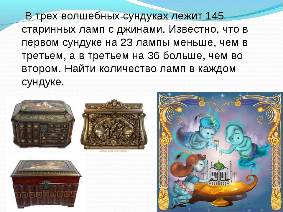 В трех волшебных сундуках лежит 145 старинных ламп с джинами. Известно, что...
