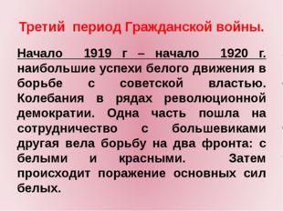 Третий период Гражданской войны. Начало 1919 г – начало 1920 г. наибольшие ус