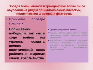 Причины победы красных: Большевики победили, так как в ходе войны им удалось