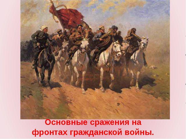 Основные сражения на фронтах гражданской войны.