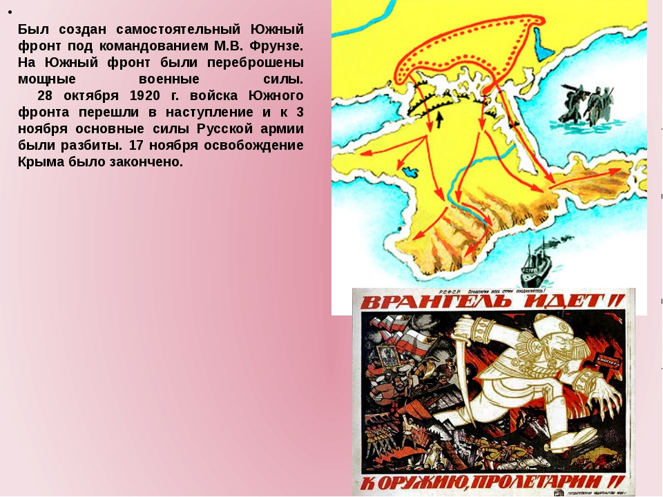 Был создан самостоятельный Южный фронт под командованием М.В. Фрунзе. На Южн...