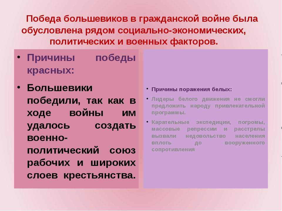 Причины победы красных: Большевики победили, так как в ходе войны им удалось...
