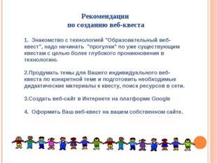 """Рекомендации по созданию веб-квеста 1. Знакомство с технологией """"Образователь"""