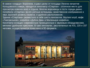 В самом «сердце» Воронежа, в двух шагах от площади Ленина напротив Кольцовско