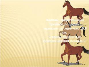 Экипаж, запряженный тройкой лошадей, проехал за один час 15,8 км. С какой ско