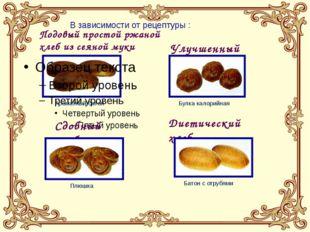 В зависимости от рецептуры : Подовый простой ржаной хлеб из сеяной муки Улучш