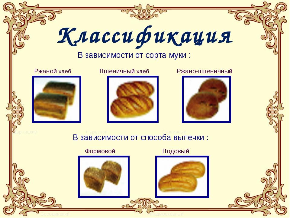 В зависимости от сорта муки : Ржаной хлеб Пшеничный хлеб Ржано-пшеничный Дар...