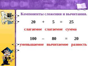 Компоненты сложения и вычитания. слагаемое слагаемое сумма 20 + 5 = 25 уменьш