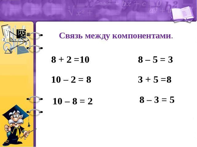Связь между компонентами. 8 + 2 =10 10 – 2 = 8 10 – 8 = 2 8 – 5 = 3 3 + 5 =8...