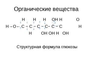 Органические вещества H H H OH H O H→O← С − С − С − С− С − С H H OH OH H OH