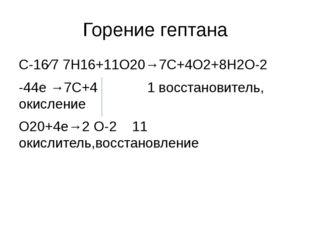Горение гептана С-16⁄7 7H16+11O20→7C+4O2+8H2O-2 -44e →7C+4 1 восстановитель,