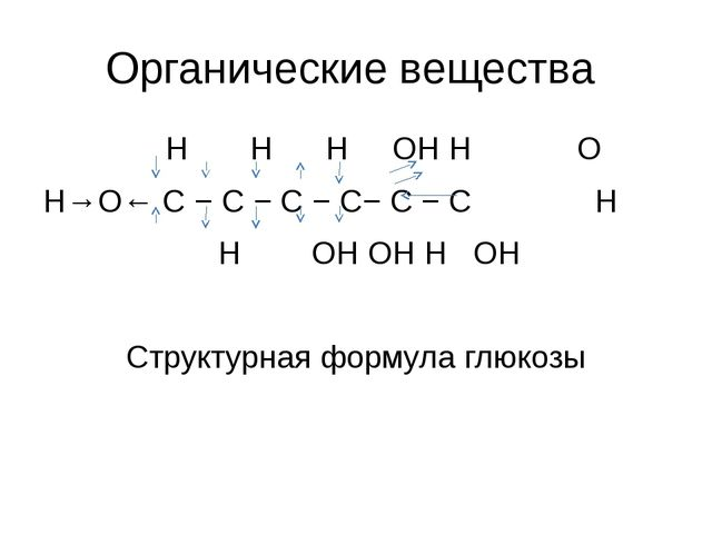 Органические вещества H H H OH H O H→O← С − С − С − С− С − С H H OH OH H OH...