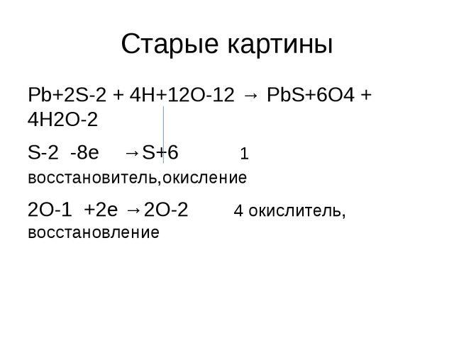 Старые картины Pb+2S-2 + 4H+12O-12 → PbS+6O4 + 4H2O-2 S-2 -8e →S+6 1 восстано...