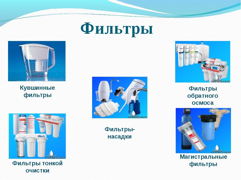 Фильтры Фильтры-насадки Кувшинные фильтры Магистральные фильтры Фильтры обрат...