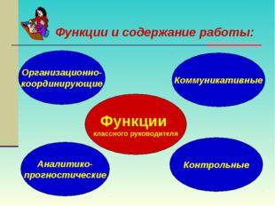 Функции и содержание работы: Функции классного руководителя Организационно- к