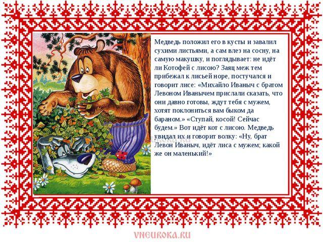 Медведь положил его в кусты и завалил сухими листьями, а сам влез на сосну,...